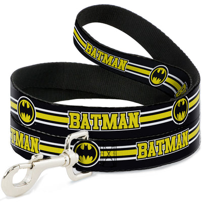 Dog Leash - BATMAN/Bat Signal Triple Stripe Black/White/Yellow