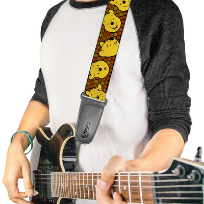 Guitar Strap - Winnie the Pooh Expressions Honeycomb Black Browns