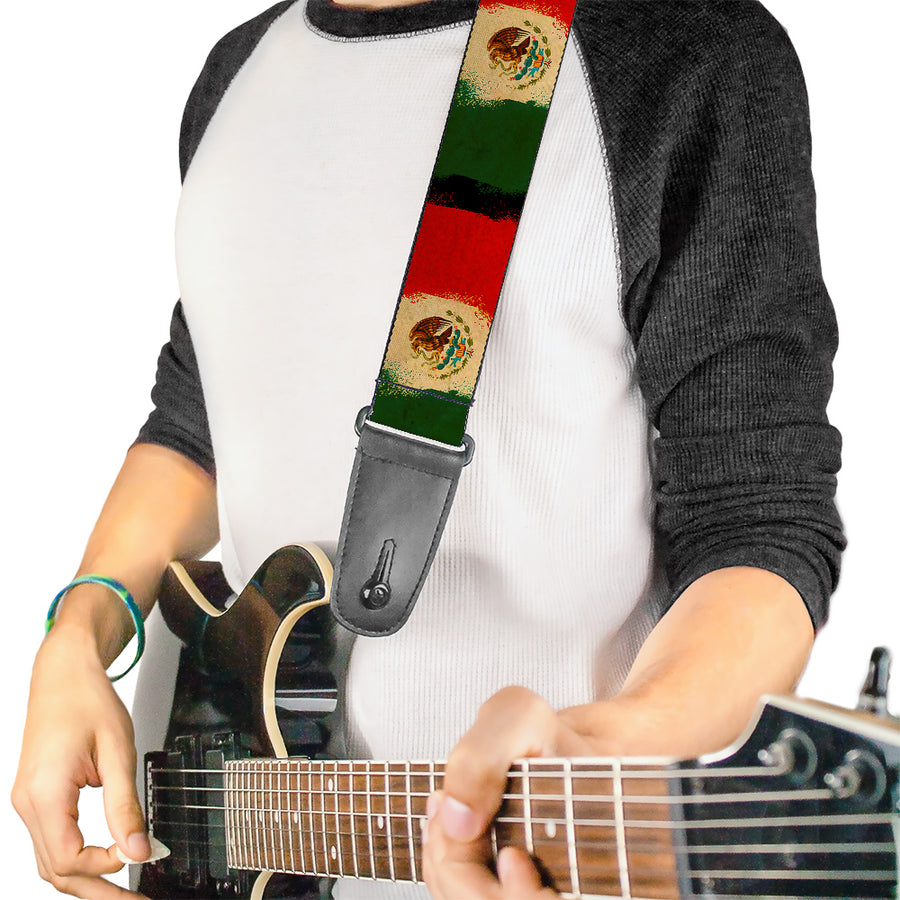 Guitar Strap - Mexico Flag Distressed Painting