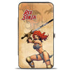 Hinged Wallet - RED SONJA Sword Action Pose Face Tans