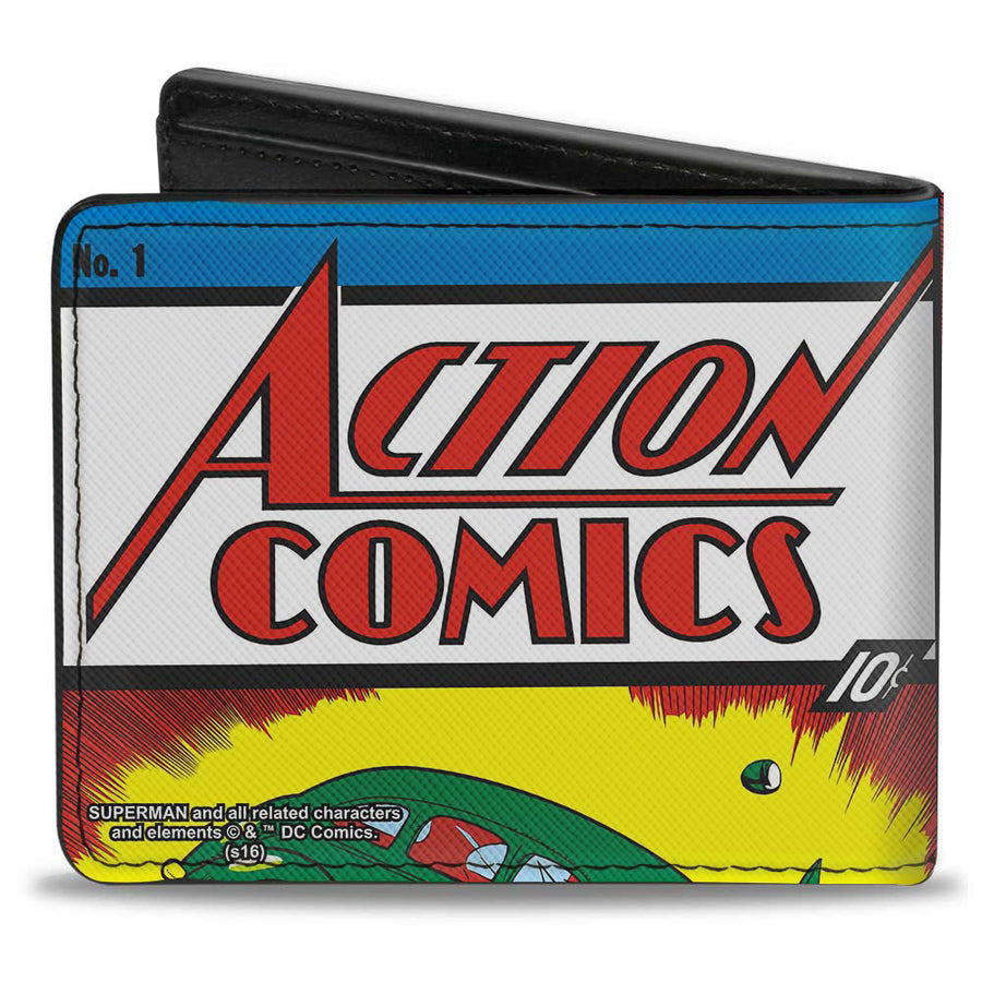 Bi-Fold Wallet - Classic ACTION COMICS Issue #1 Superman Lifting Car Cover Pose