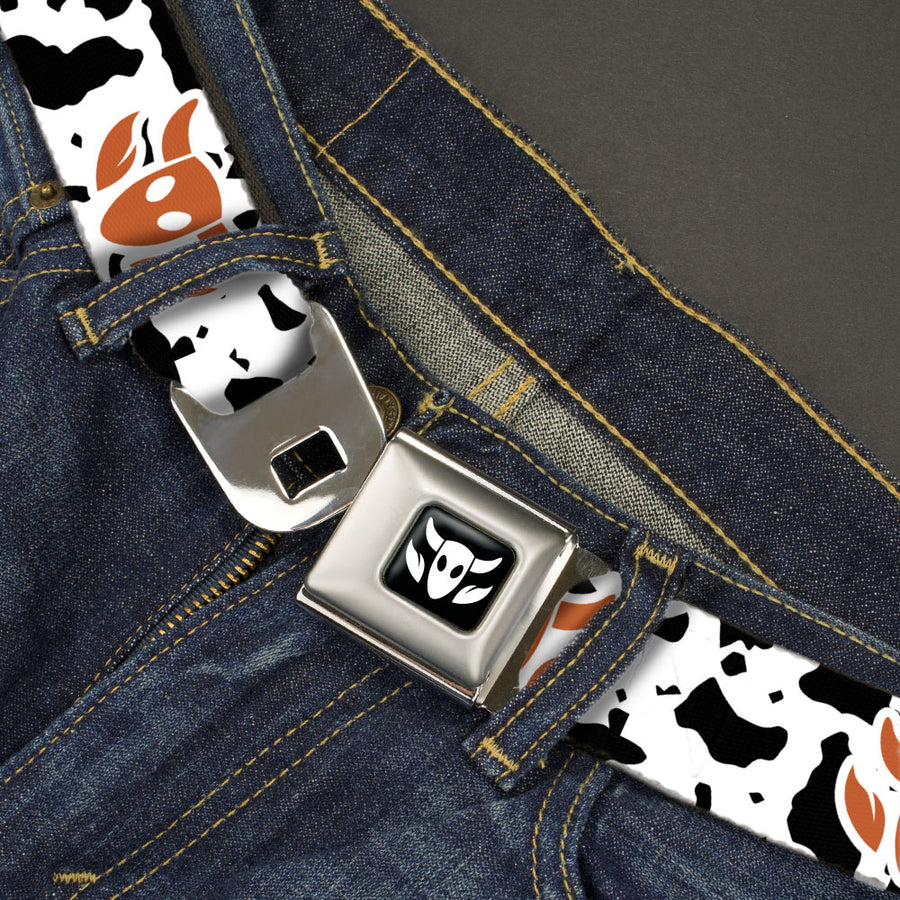 Toy Story Woody Cowboy Bull Icon Full Color Black/White Seatbelt Belt - Toy Story Woody Bounding Cowboy Bull Icon/Cow Print White/Black/Brown Webbing