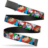 Black Buckle Web Belt - Looney Tunes 3-B-Boy Stance Character Poses Stacked Webbing