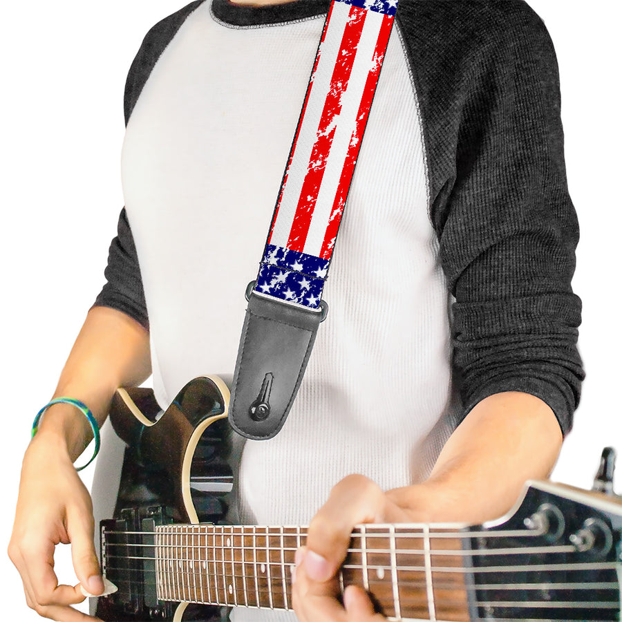 Guitar Strap - United States Flags Weathered