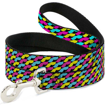 Dog Leash - Mustache Monogram Black/Fuchsia/Turquoise/Yellow