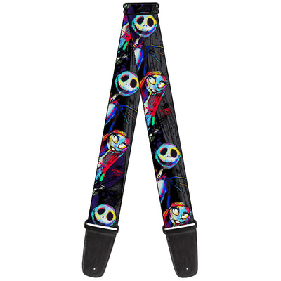 Guitar Strap - Nightmare Before Christmas Jack & Sally Pose Electric Glow