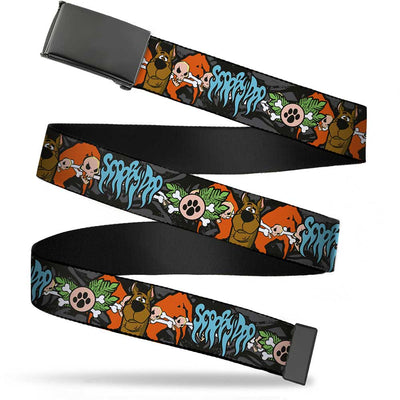 Black Buckle Web Belt - SCOOBY DOO Face/Paw & Crossbones Gray/Black/Orange/Blue Webbing