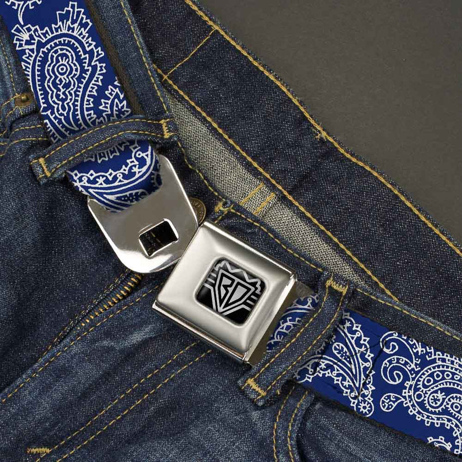 BD Wings Logo CLOSE-UP Full Color Black Silver Seatbelt Belt - Paisley Blue/White Webbing