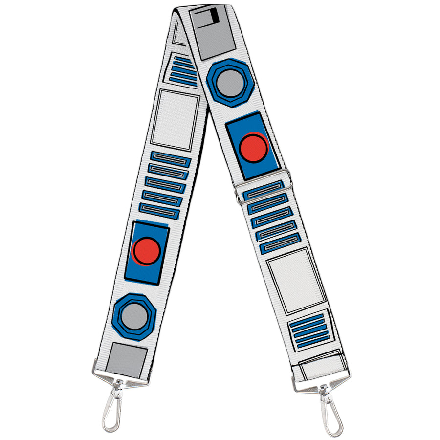 Purse Strap - Star Wars R2-D2 Head Full Color White Black Blue Gray Red