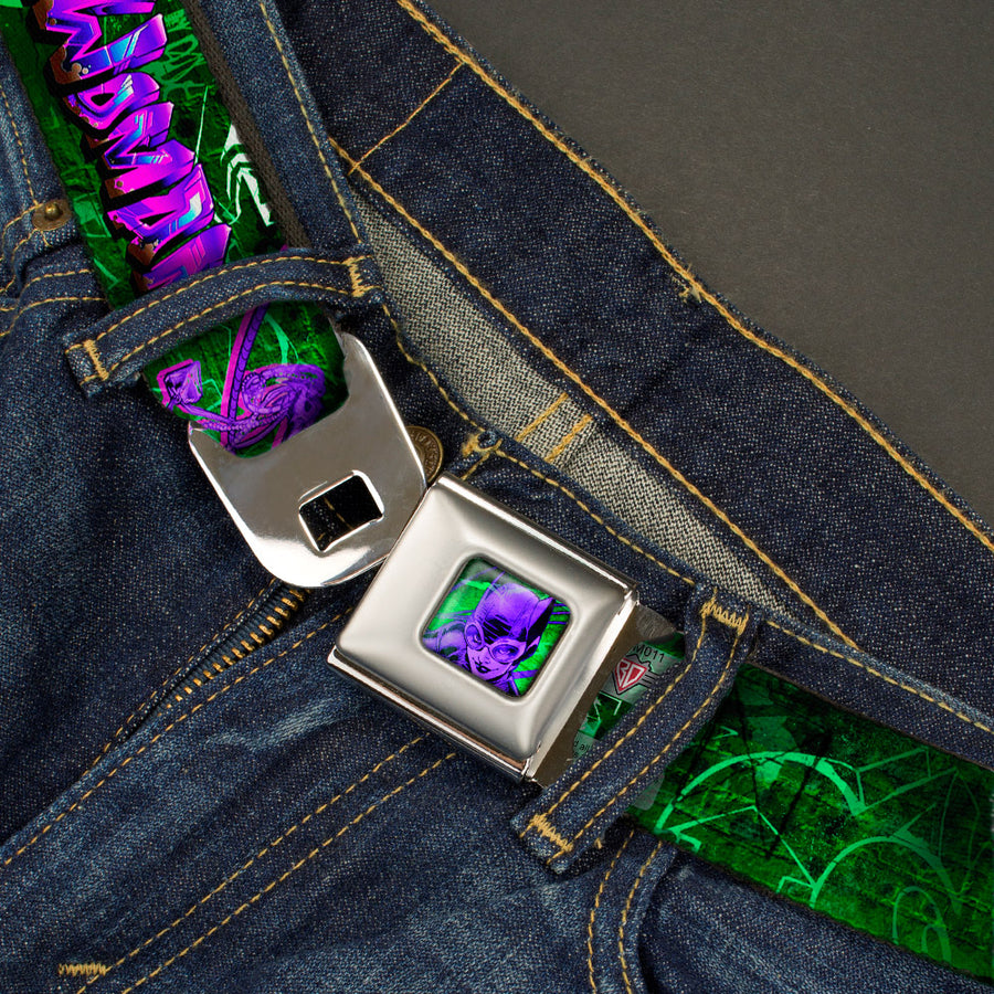 Catwoman Whip Pose Face CLOSE-UP Full Color Black Greens Purples Seatbelt Belt - CATWOMAN Whip Pose/Graffiti Black/Greens/Purples Webbing