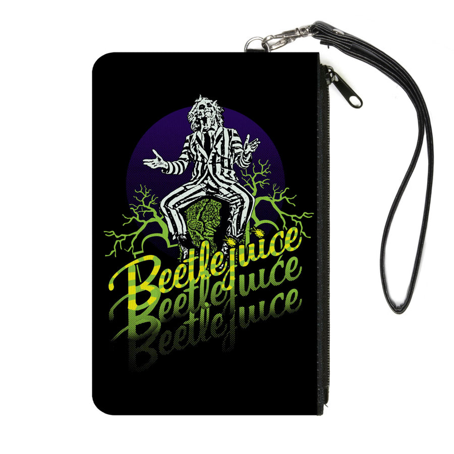 Canvas Zipper Wallet - SMALL - BEETLEJUICE Sitting on Tombstone Pose Trees Black Purple Green Yellow