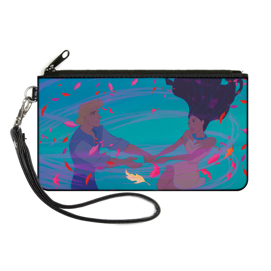 Canvas Zipper Wallet - LARGE - Pocahontas & John Smith Colors of the Wind Pose Leaves Blues Pinks