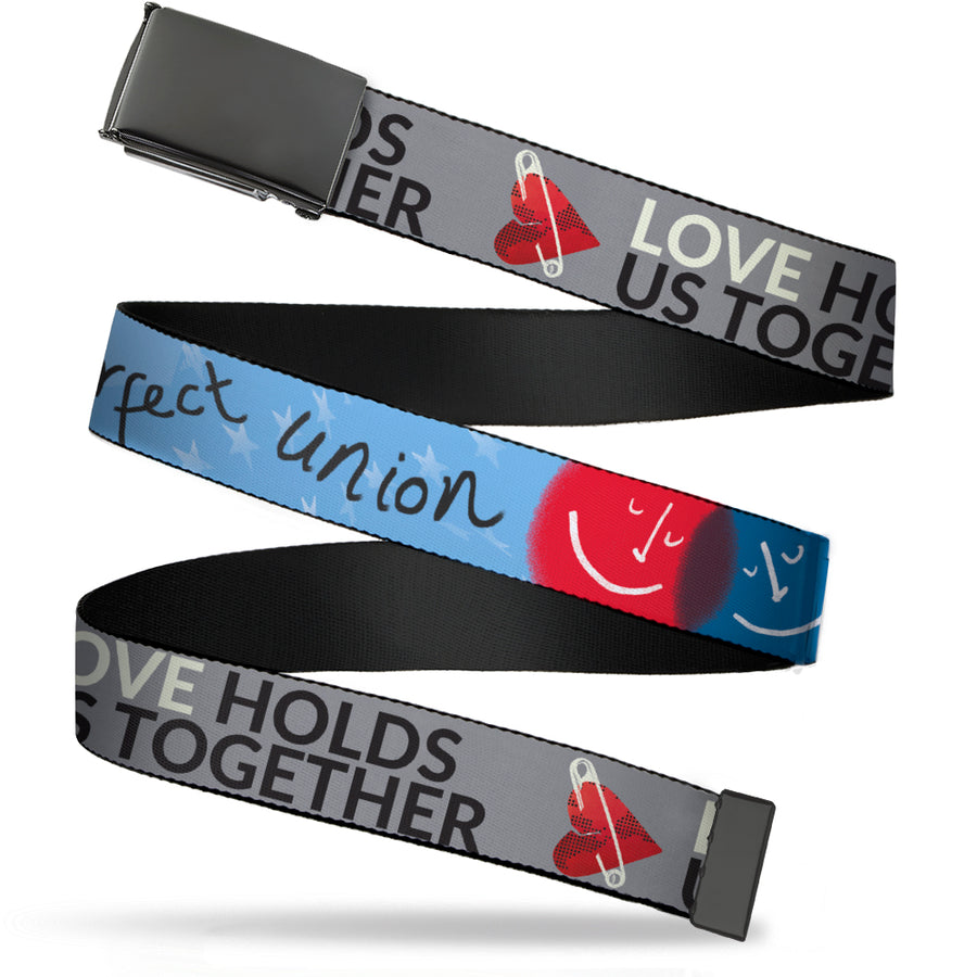 Black Buckle Web Belt - LOVE HOLDS US TOGETHER/Safety Pin Heart Grays/Red/Black Webbing