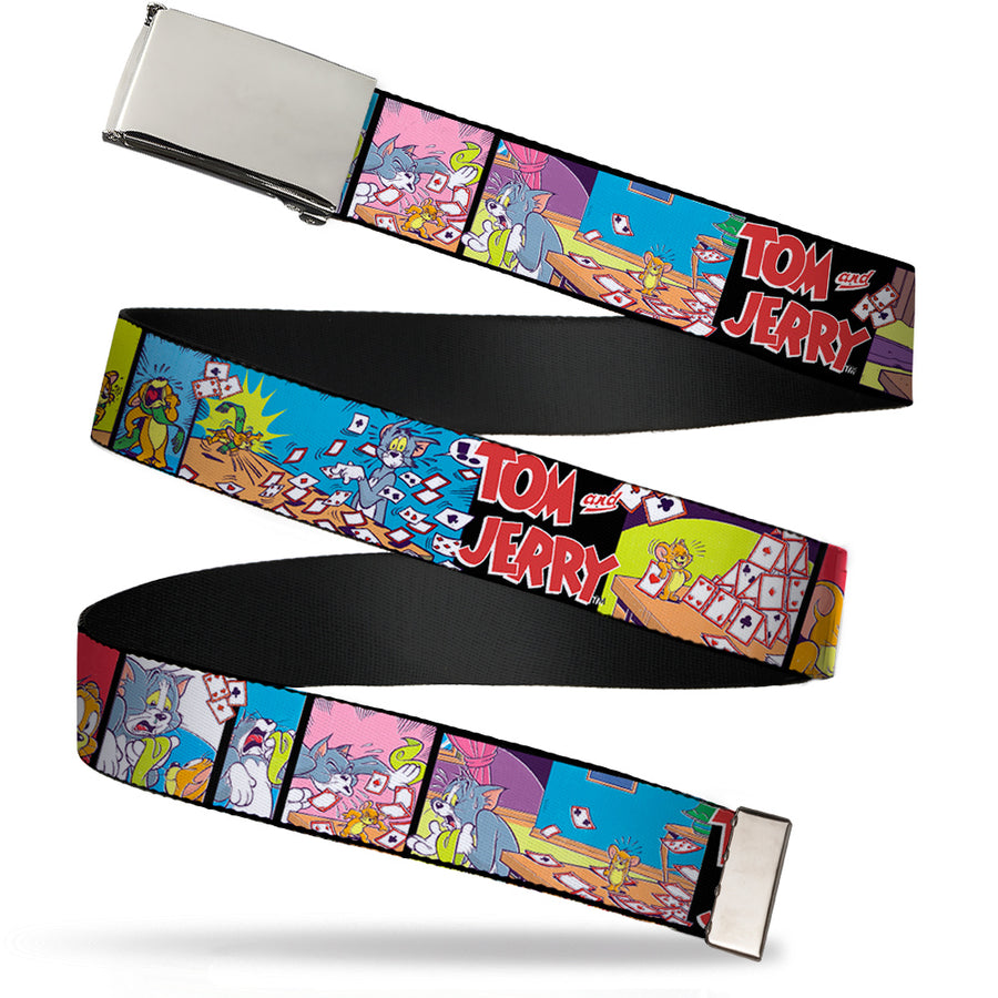 Chrome Buckle Web Belt - TOM & JERRY House of Cards Panels Webbing
