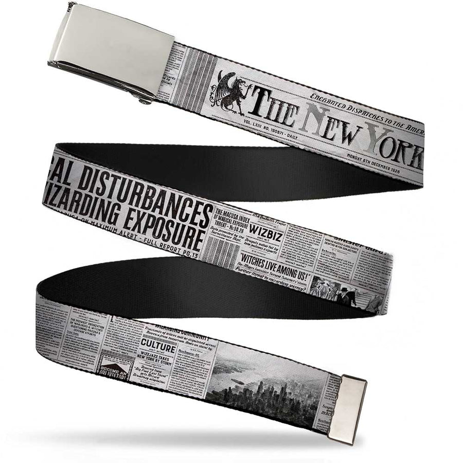 Chrome Buckle Web Belt - THE NEW YORK GHOST Newspaper Headlines White/Grays/Black Webbing