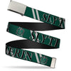 Chrome Buckle Web Belt - Harry Potter SLYTHERIN Stripe Green/Gray Webbing