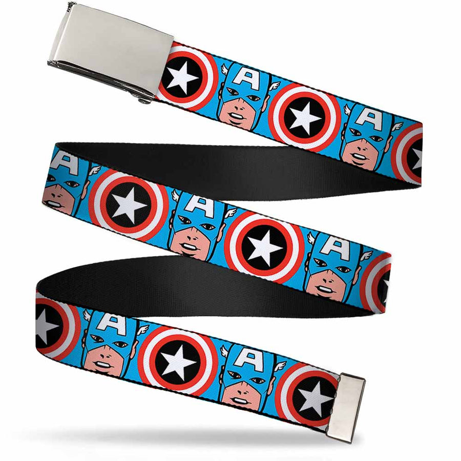 Chrome Buckle Web Belt - Captain America Face CLOSE-UP w/Shield Repeat Webbing