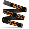 Black Buckle Web Belt - HEMI Bold Black/Orange/White/Black Webbing