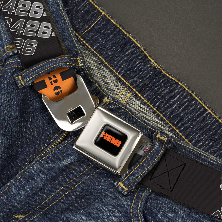 HEMI 426 Logo Full Color Black Orange Seatbelt Belt - HEMI 426 Logo 392/426 Black/Orange/Silver-Fade Webbing