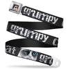 Grumpy Cat Face Full Color Black Seatbelt Belt - GRUMPY CAT Weathered w/Face CLOSE-UP Blue Eyes Gray/White Webbing