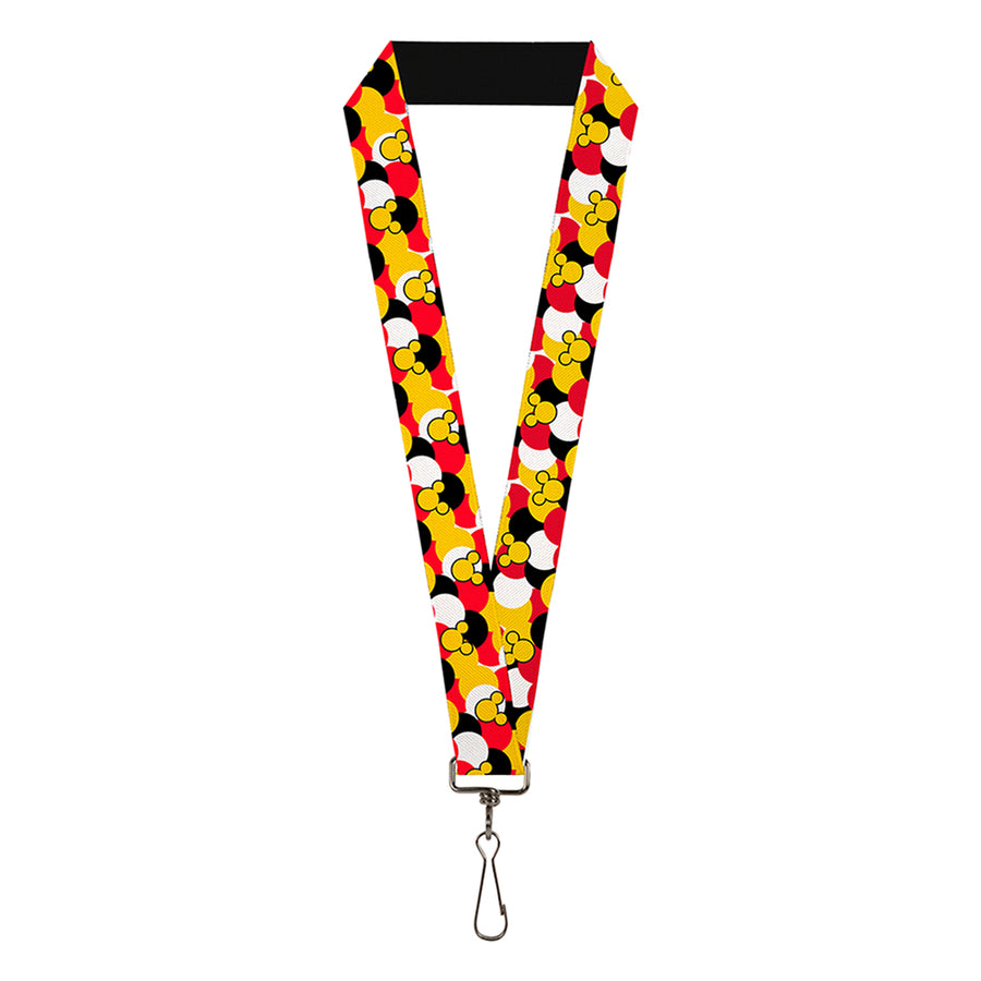 "Lanyard - 1.0"" - Mickey Mouse Head Silhouette Scattered Dots Red White Black Yellow"