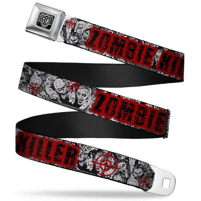BD Wings Logo CLOSE-UP Full Color Black Silver Seatbelt Belt - ZOMBIE KILLER w/Stacked Zombies Sketch Webbing