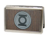 Business Card Holder - LARGE - Green Lantern Logo Marquetry Black Walnut Metal