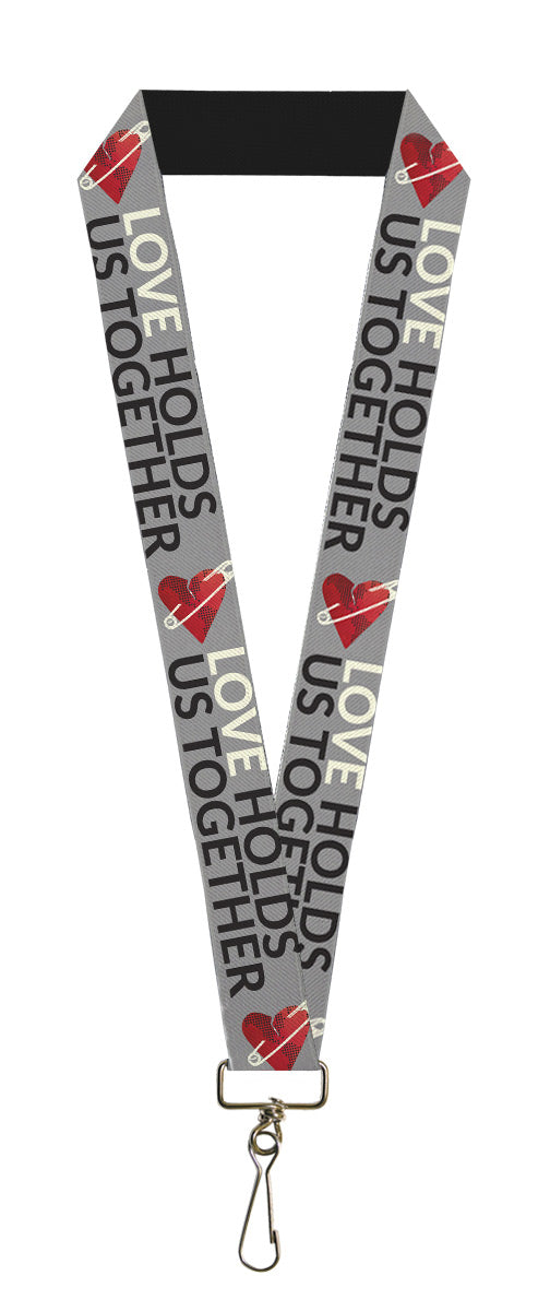 "Lanyard - 1.0"" - LOVE HOLDS US TOGETHER Safety Pin Heart Grays Red Black"