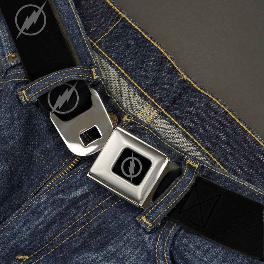 Reverse Flash Logo Full Color Black Gray Seatbelt Belt - Reverse Flash Logo Black/Gray Webbing