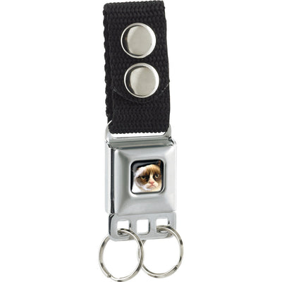 Keychain - Grumpy Cat Face Full Color Black Gray