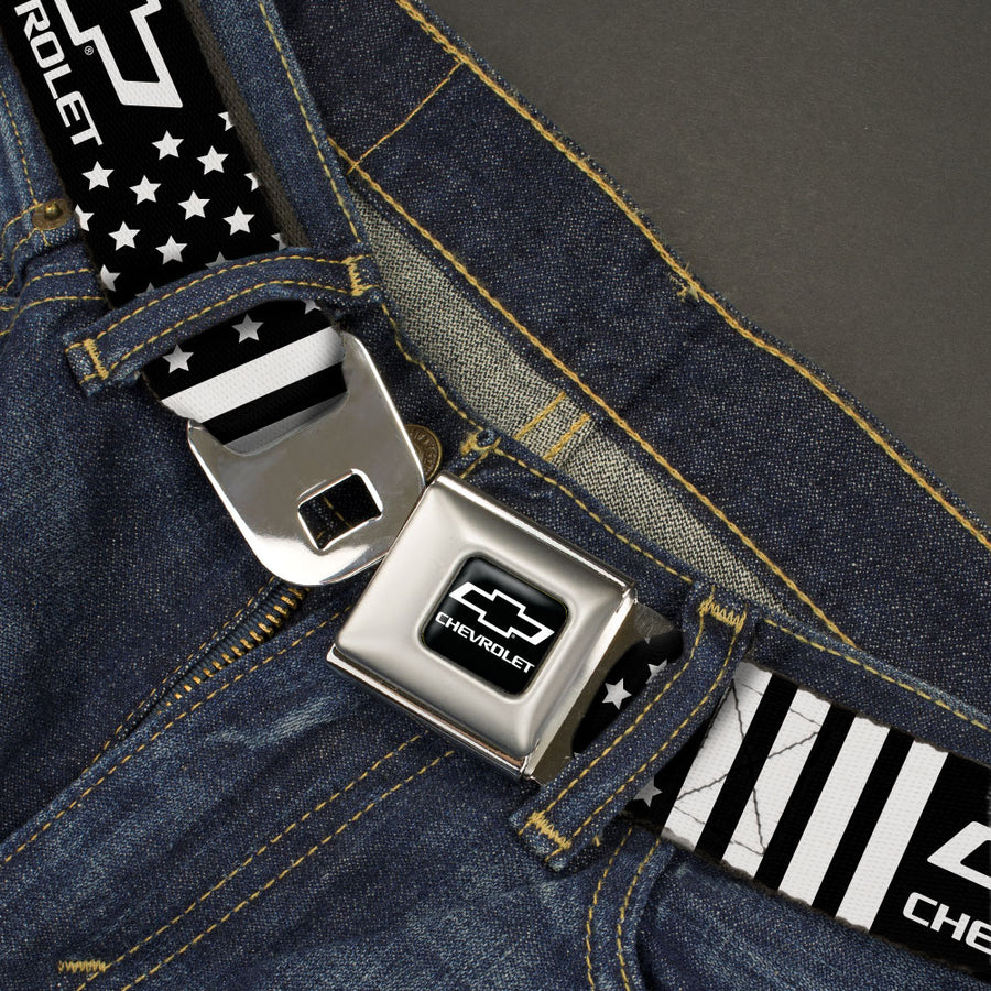 Chevy Bowtie Full Color Black/White Seatbelt Belt - CHEVROLET Bowtie Americana Stars and Stripes Black/White Webbing