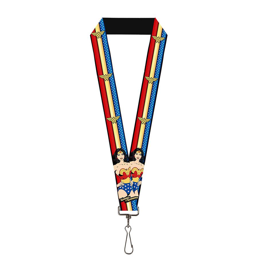 "Lanyard - 1.0"" - WONDER WOMAN Pose Logo Stripe Stars Red Gold Blue White"