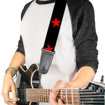 Guitar Strap - Star Black Red