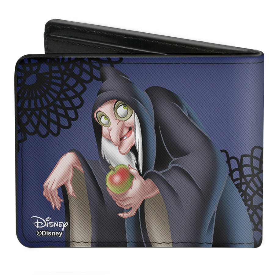Bi-Fold Wallet - Snow White's Evil Queen + Old Witch Poses Purples Black