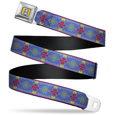 Classic Aladdin Genie Smiling Expression Full Color Yellow Seatbelt Belt - Classic Aladdin Magic Carpet Tapestry Blue/Purple/Gold/Red Webbing