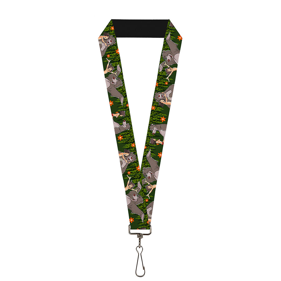 "Lanyard - 1.0"" - Mowgli & Baloo 3-Poses Leaves Flowers Greens Orange"