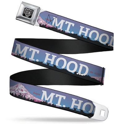 BD Wings Logo CLOSE-UP Full Color Black Silver Seatbelt Belt - Oregon MT. HOOD Scenery Blues/Purples/Black/White Webbing