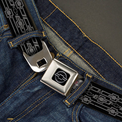 Chevy Seatbelt Belt - Retro Chevy Bowtie Monogram Black/Gray Webbing