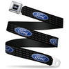 Ford Oval Full Color Black Blue Seatbelt Belt - Ford Oval REPEAT w/Text Webbing