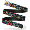 Alice in Wonderland THIS WAY Sign Flowers Full Color Seatbelt Belt - CURIOUSER AND CURIOUSER/Flowers of Wonderland Collage Webbing