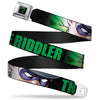 "Riddler ""?"" Full Color Black Green Seatbelt Belt - THE RIDDLER/Face CLOSE-UP Black/Green Webbing"
