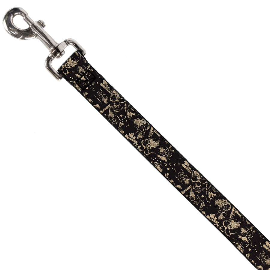 Dog Leash - Pirates Skulls Scattered/Splatter Black/Tan/Red