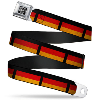 BD Wings Logo CLOSE-UP Full Color Black Silver Seatbelt Belt - German Flag Distressed Webbing