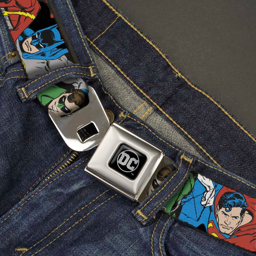 DC Round Logo Black/Silver Seatbelt Belt - Justice League Superheroes CLOSE-UP New Webbing