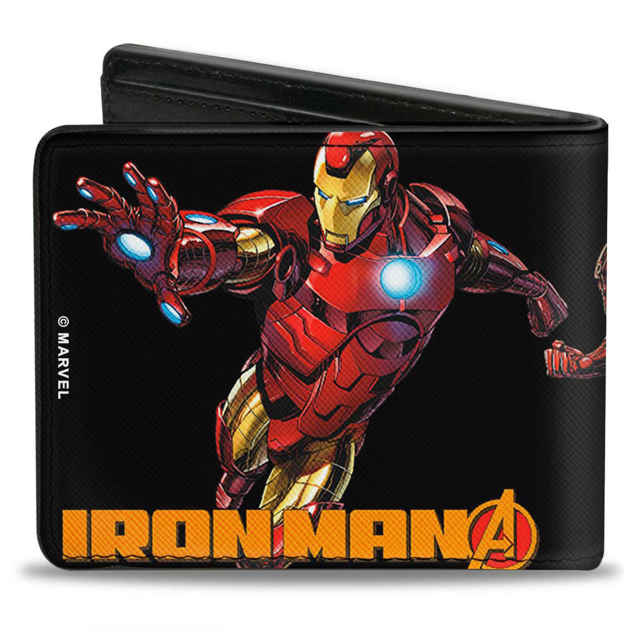 "MARVEL AVENGERS Bi-Fold Wallet - Iron Man Pose Face CLOSE-UP + Pose IRON MAN ""A"" Logo Black Gold Red"