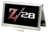 Business Card Holder - SMALL - 1969 Camaro Z 28 Emblem FCG Black Silvers Red