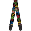 Guitar Strap - JUSTICE LEAGUE OF AMERICA w Superhero Blocks Black Multi Color