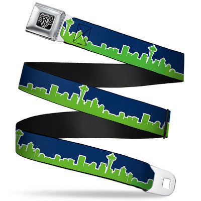 BD Wings Logo CLOSE-UP Full Color Black Silver Seatbelt Belt - Seattle Skyline Navy/Bright Green Webbing