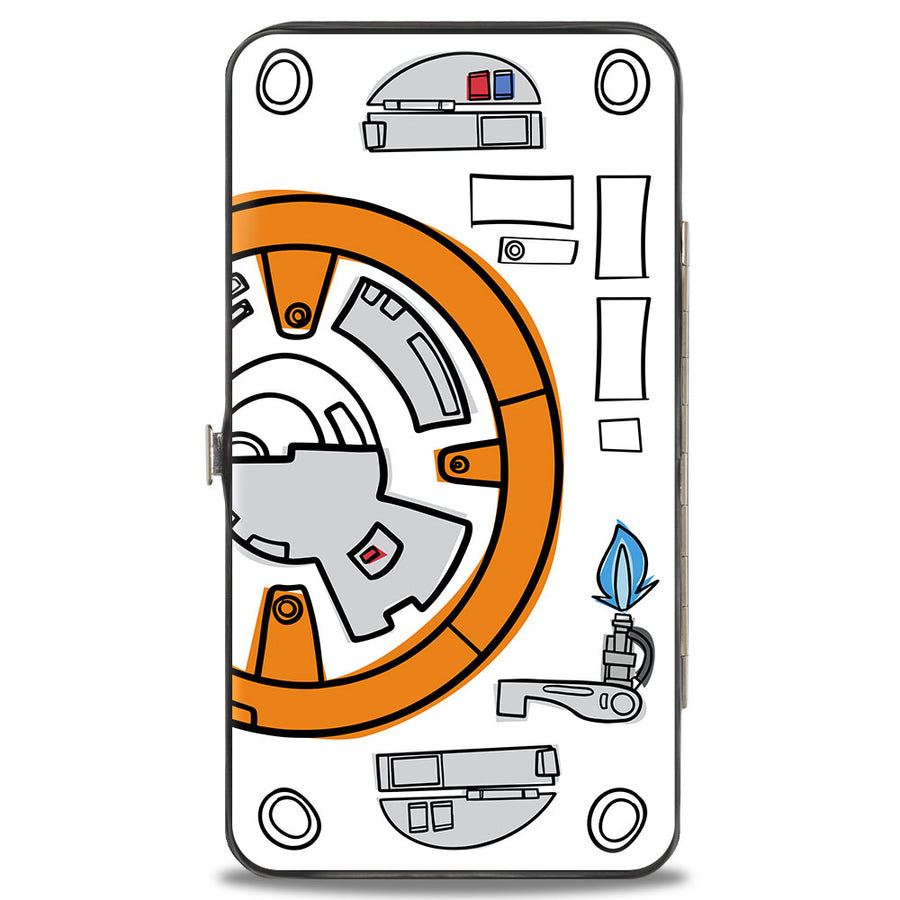 Hinged Wallet - Star Wars BB-8 Bounding Parts2 White Black Grays Orange