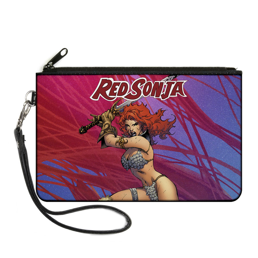 Canvas Zipper Wallet - LARGE - RED SONJA Sword Action Pose2 Purples Reds